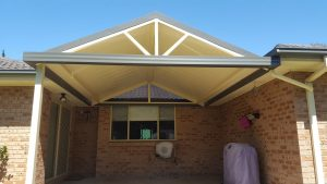 Gable awning with front infill spokes and twin wall back by Judds Garages in the Hunter region of New South Wales