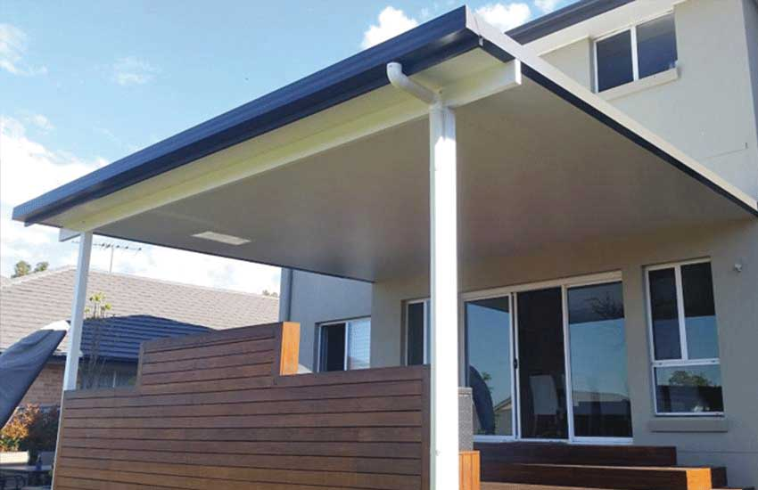 Insulated panel composite roof on a SOL awning by Judds Garages