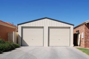 Double steel garage in vertical K panel by Judds Garages near Newcastle NSW