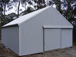 Industrial/Commerical Shed with sliding door by Judds Garages in Lake Macquarie