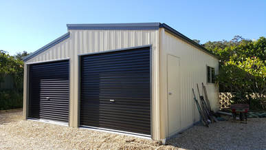 Monopitch double steel garage in vertical K panel by Judds Garages