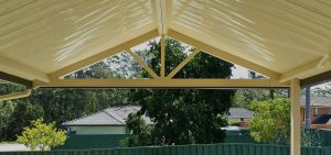 Gable awning with spokes – Judds Garages
