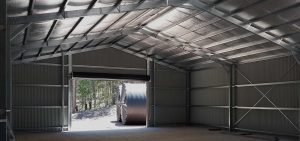 Interior of large shed in COLORBOND Monument by Judds Garages