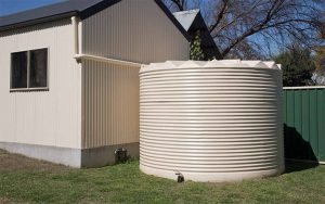 Judds Garages supplies and installs Rapid Plas rainwater tanks to match your steel shed