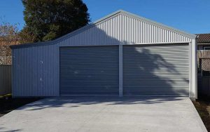 A double garage with enclosed lean-to by Judds Garages in the Greater Newcastle area