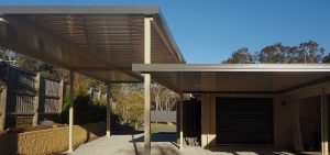 Custom awning attached to a carport in Bolwarra by Judds Garages