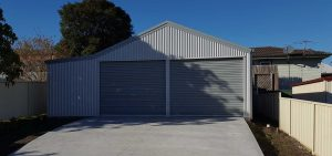 Double garage in vertical corrugated COLORBOND in the Lake Macquarie region