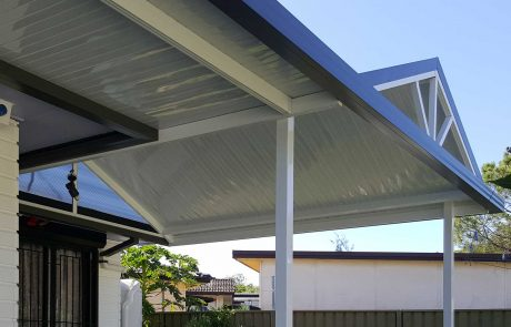 Combination awning with twin-wall cladding infill and gable spokes in Edgeworth