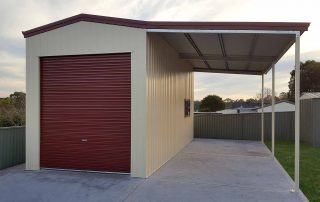 Custom single garage with extra-high lean-to for a large caravan in Macquarie Hills